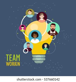 Team working concept.Flat business people, group, crowd, company, buttons for website, avatars, game design, character design, extras. The hierarchy of people working staff.