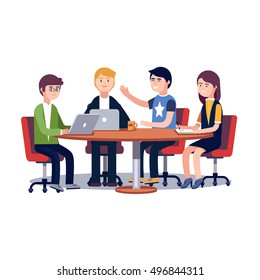 Team working and talking together on a IT startup business. Strategy planning meeting. Flat style vector illustration isolated on white background.