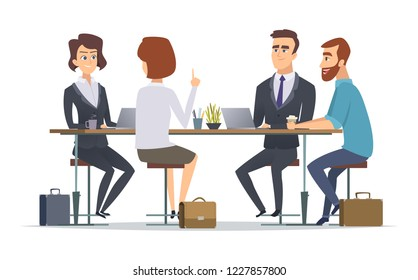 Team working together. Office talking peoples managers business group dialogue coworkers persons vector concept pictures