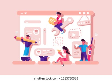 Team working at web development vector illustration. Webdesigners building website page on giant laptop with social media icons flat style concept. Isolated on pink
