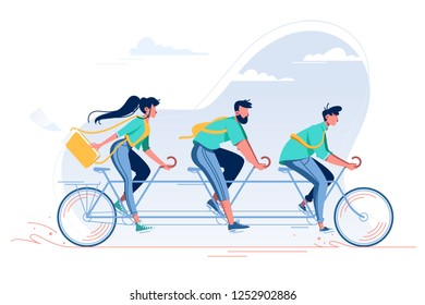 Team with young woman, man with beard and student riding a bike. Concept flat people on vehicle, teamwork, friends relax. Vector illustration.