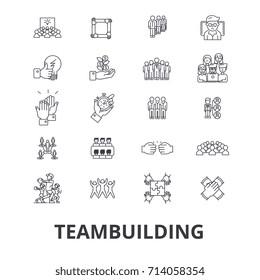 Teambuilding, community, teamwork, leadership, team spirit, business company line icons. Editable strokes. Linear isolated signs