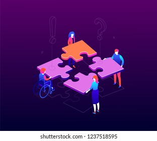 Teambuilding concept - modern colorful isometric vector illustration on purple background. Male, female business people with different abilities putting puzzle pieces together. Teamwork, solutions