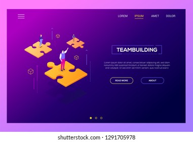 Teambuilding concept - modern isometric vector web banner on purple background with copy space for text, information. High quality website header with male, female business people on puzzle pieces