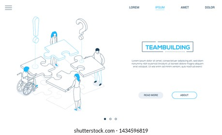 Teambuilding - line design style isometric web banner on white background with copy space for text. A header with business people with different abilities putting puzzle pieces together. Solutions