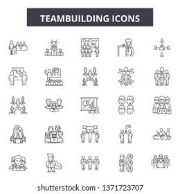 Teambuilding line icons, signs set, vector. Teambuilding outline concept, illustration: teamwork,team,cooperation,teambuilding,business,partnership,work,connection