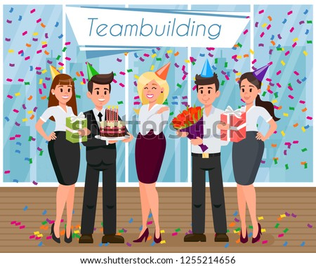 Employees Birthday Congratulations And Gifts Smiling People Human Resource