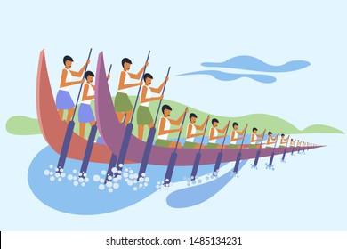 Teams rowing snake boats. Concept for boat racing in the backwaters of Kerala