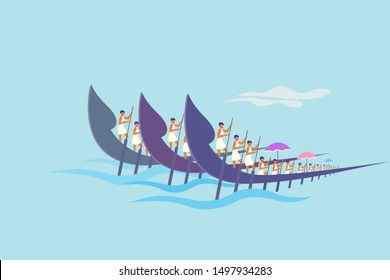 Teams rowing traditional snake boats. Concept for boat racing in the backwaters of Kerala