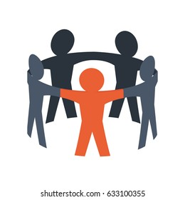 Teamwork abstract symbol