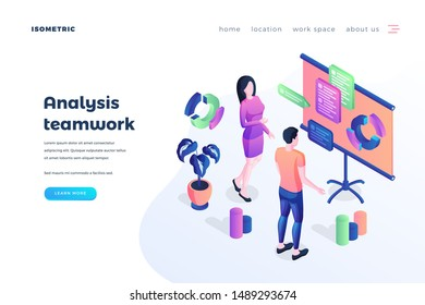 Teamwork analysis landing page vector template. Business workflow management website homepage UI idea with isometric illustration. Coworking efficiency increase web banner 3D cartoon concept