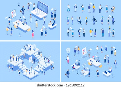 Teamwork big vector set. Isometric Office people. Office workspace with people working together. Flat vector illustration.\t