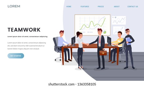 Teamwork, business coaching landing page template. Business development training classes, school website webpage concept. Successful people shaking hands, coworking vector illustration with copyspace