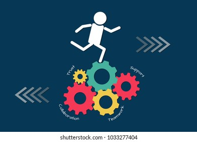 Teamwork business concept. Man running on many colorful gears, flat style illustration vector.