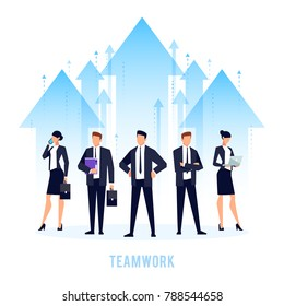 Teamwork. Business concept with a team of businessmen standing in the background of arrows. Business team in a flat style. Vector illustration.
