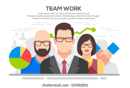 Teamwork. Business concept. Team work concept illustration. Business people teamwork, human resources, career opportunities, team skills, management.