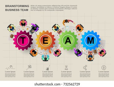 Teamwork. Business Concepts With a city background and manager flying to the top toward the goal. Vector illustration.