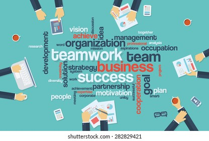 Teamwork business infographics poster with businessmen working around the word cloud. Analysis and planning keywords. Office objects. Eps10 vector illustration.