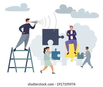 Teamwork Business leader Solution Concept with Characters Collect Puzzle Pieces. Businessman and Businesswoman lead the process Brainstorming Innovation Banner. Vector Flat illustration
