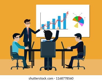 teamwork business meeting concept. businessmen help to brainstorm modern idea and to achieve success and rise. manager hold a conference and comment on the participant. illustrated vector illustration
