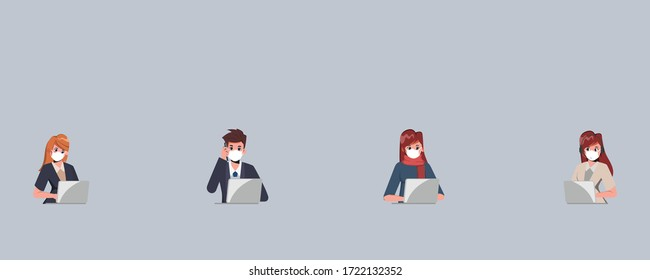 Teamwork of business office people wearing face mask and maintain social distancing. Stop covid-19 coronavirus. New normal lifestyle concept.
