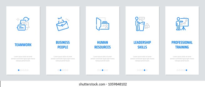 Teamwork, Business people, Human resources, Leadership skills, Professional training Vertical Cards with strong metaphors. Template for website design.