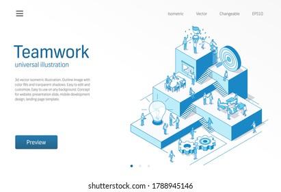 Teamarbeit. Geschäftsleute arbeiten im Büro. Teamerfolg, Kommunikation moderne isometrische Liniendiagramm. Partnerschaft, Mitarbeiterzusammenarbeit, Trophäenprämiensymbol. 3D-Vektorgrafik. Wachstumsschrittkonzept