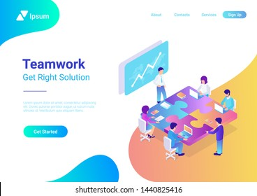 Teamwork Business People sitting at table in shape of puzzle. Finance Success, well-coordinated work in team, successful collaboration and right solution concept 3d isometric flat vector illustration.