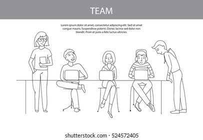 Teamwork, business team vector illustration concept, flat thin line style