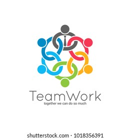 Teamwork chain logo. Business team union concept icon on white background.