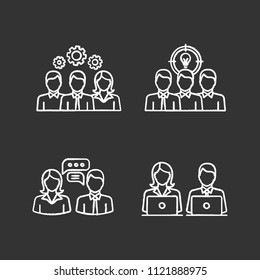 Teamwork chalk icons set. Collective solving problem, team brainstorming, coworking, job interview, generating idea. Isolated vector chalkboard illustrations
