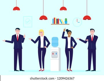 Teamwork of colleagues near the watercooler happy men and woman talking and working vector characters flat style vector illustration. Conversation at work place in office concept in business.