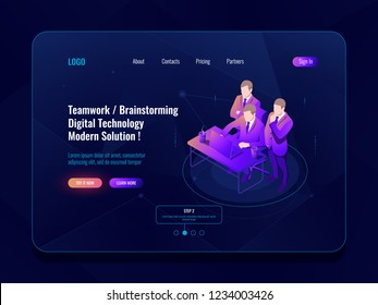 Teamwork and collective meeting, office workflow, brainstorm concept isometric icon, code review, engineer, programmer laptop vector