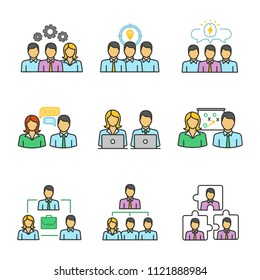 Teamwork color icons set. Partnership. Staff management. Personnel interaction. Collective problem solving. Isolated vector illustrations