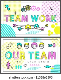 Teamwork colorful promo banners linear templates set. Human faces and geometrical shapes on cooperation poster cartoon flat vector illustrations.