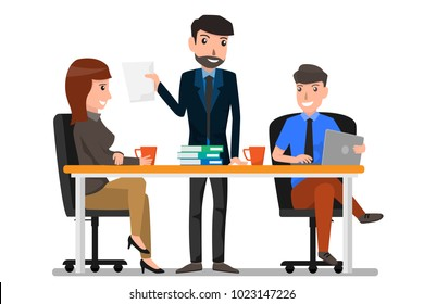 Teamwork and communication between co-workers, friendly environment for productivity and creativity. business man and woman working in office. cartoon character business concept vector illustration