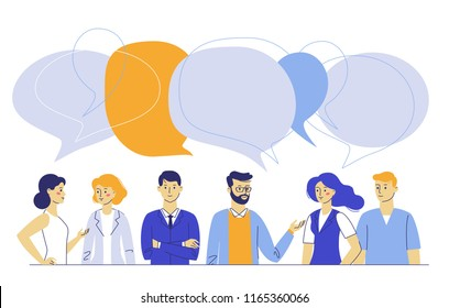 Teamwork and communication concept with young man and woman talking together. Business people group and speech bubbles. Meeting and brainstorming.