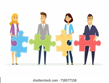 Teamwork in a company - modern cartoon people characters illustration with smiling business people holding puzzle pieces and standing together. Creative metaphorical concept of unity and partnership