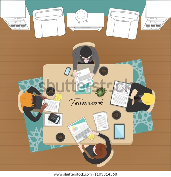 Teamwork concept with 4 Business people working together in office.