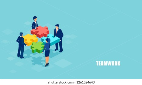 Teamwork concept banner. Isometric vector of business people solving a problem in team isolated on blue background.
