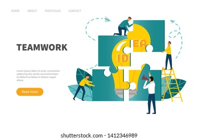 Teamwork concept. Banner people connecting puzzle elements.Vector illustration flat design style.
