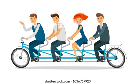 Teamwork concept. Business people or students riding tandem bike. Cartoon vector illustration