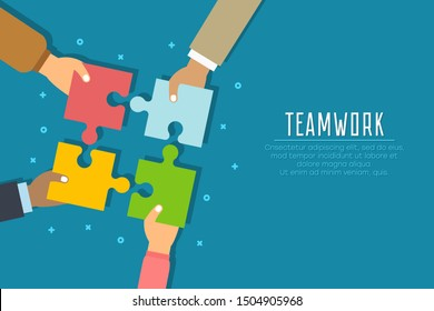 Teamwork concept. Businessmen hold in hands and connect the pieces of jigsaw puzzle. Team work business metaphor. Vector illustration in flat style.