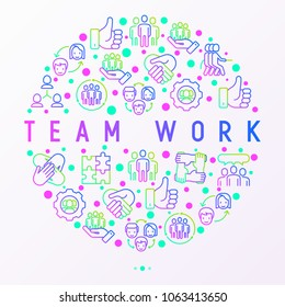 Teamwork concept in circle with thin line icons: group of people, mutual assistance, meeting, handshake, tug-of-war, cooperation, puzzle, team spirit, cooperation. Modern vector illustration.