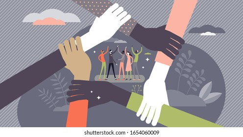 Teamwork concept, flat tiny persons vector illustration. Team members group ready to work and reach the goals. Hands locked together symbol. Diverse partnership startup or social community project.