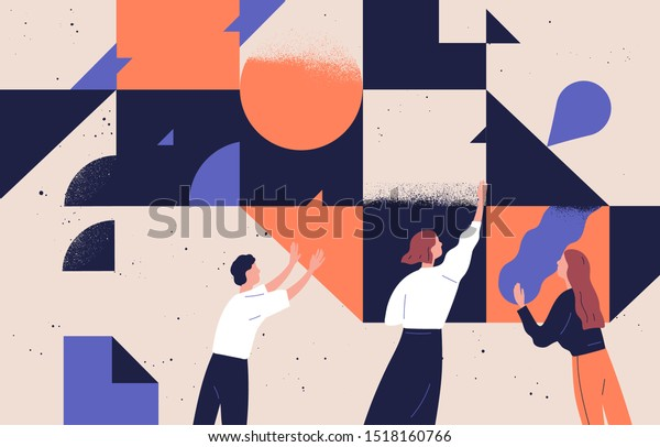 Teamwork concept flat vector illustration. Coworkers cartoon characters and abstract geometrical shapes. Coworking and problem solving concept. Businessmen and businesswomen communication.