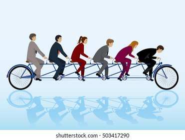 Teamwork Concept, Group Of Business People Riding Bicycle. Vector Illustration, Graphic Design. For Web, Websites, App, Print, Presentation Templates, Mobile Applications, Promotional Materials