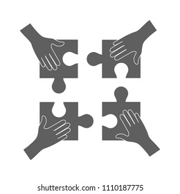 Teamwork concept, hands holding puzzle icon isolated on white background. Teamwork concept for web site, marketing, app and logo. Creative business design, vector illustration, eps 10