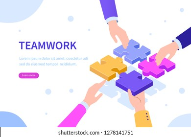 Teamwork  concept with  hands and puzzle. Can use for web banner, infographics, hero images. Flat isometric vector illustration isolated on white background.
