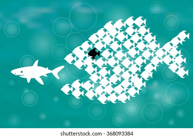 Teamwork Concept Illustration with shark chasing Small fish and Fish group chasing shark
